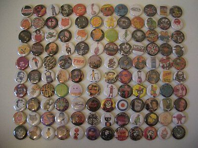 Vtg 80s 90s Mixed Lot 120 Rock Band Character 1 inch (2.5cm) Pin Button Badge #D