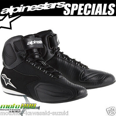 Alpinestars Faster Vented Ride Shoes Black Motorcycle RoadBike Boot Track