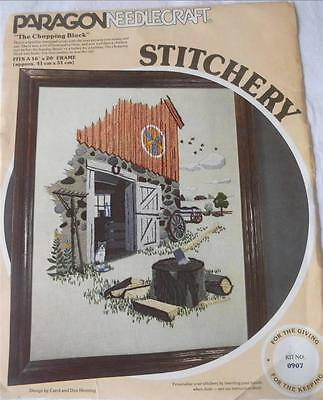 Vintage Complete Paragon Crewel Embroidery Kit The Chopping Block Barn Farmyard