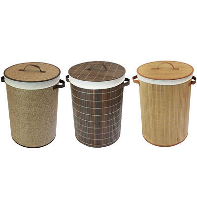 Laundry Basket Collapsible Natural Brown Bamboo Cotton Lining Lid Handles New