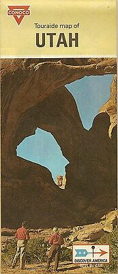 1969 CONOCO Gas Station Locator Road Map UTAH Arches National Monument Moab