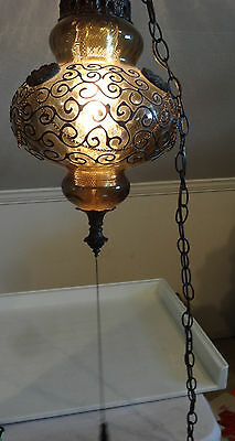 VTG Pendant Light Chandelier Swag Gothic Medieval Bent Iron Applied Blown Glass