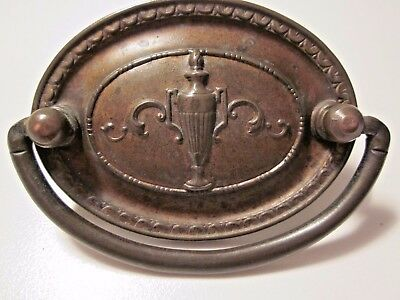 "1 vintage antique brass Victorian drawer oval drop bail pull handle w. urn 2""C-C • CAD $26.44"
