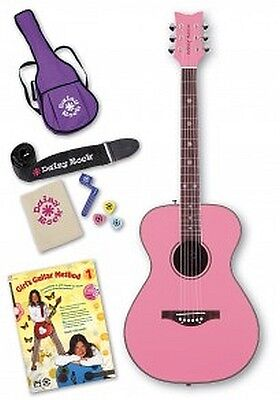Daisy Rock Pixie Acoustic Guitar Starter Pack (Powder Pink)