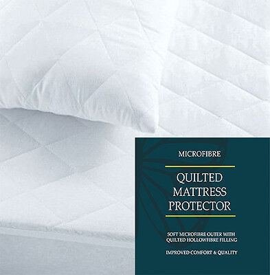 "12"" Extra Deep Luxury Microfiber Quilted Mattress Protector Bed Cover All Sizes"