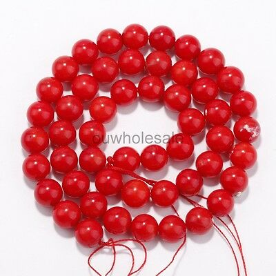 Natural Coral Gemstone Red Round Spacer Loose Beads 16'' 4mm 6mm 8mm 10mm 12mm