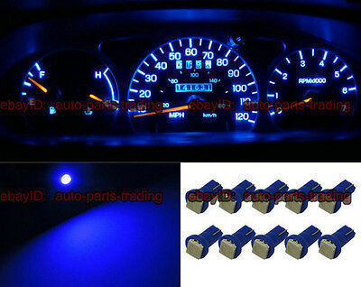 10 x Blue T5 73 74 1SMD Car Instrument Gauge Dashboard LED Light Bulbs 5001 5a