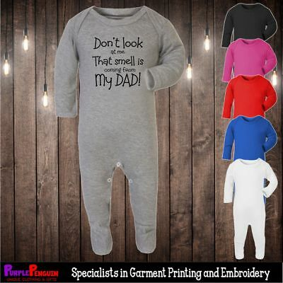 Sleepsuit - Smell is Dad Romper Funny Boy Girl Cool Present Christening Shower