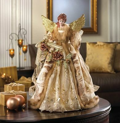 GOLDEN ANGEL TREE TOPPER & TABLE DECOR CENTERPIECE CHRISTMAS HOLIDAY~10015395