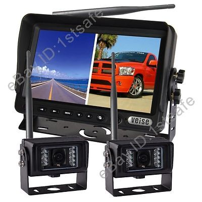 "Digital Wireless Rear View Backup System,7"" Lcd Monitor+2 Waterproof Ir Camera"