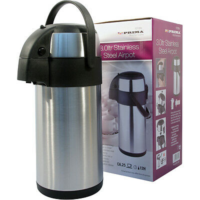 3L 3000Ml Airpot Flask Hot Cold S/s Pump Action Vacuum Thermos Tea Coffee Drinks