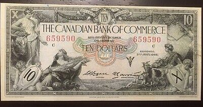 Reproduction Copy $10 Bill Bank Of Commerce 1935, Toronto, Chartered Bank Note