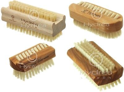 Hydrea Natural  Cactus Bristles Dual Sided Nail Brush Cleaning Hands Olive Wood