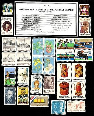 1979 COMPLETE YEAR SET OF MINT NH (MNH) VINTAGE U.S. POSTAGE STAMPS