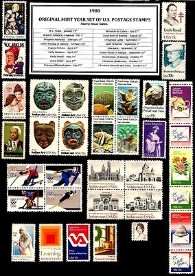 1980 Complete Year Set (35 Stamps) Of Mint Nh (Mnh) Vintage U.s. Postage Stamps