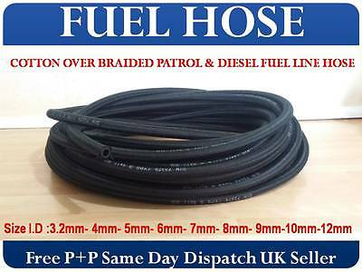 1M Cotton Over Braided Rubber Petrol Fuel Line Diesel Oil Tubing Hose Pipe Tube