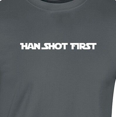 HAN SHOT FIRST Gildan T-Shirt 100% cotton death star wars sci fi firefly