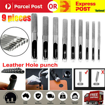 Hollow Punch Set 9PC Leather Hole Punch Punching Tool Gasket Cutter New Hardened