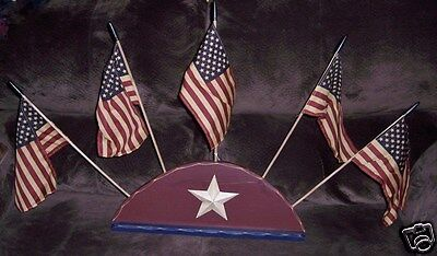 Primitives by Kathy PATRIOTIC WOODEN FLAG SITTER PJ Rankin-Hults NEW 15079 Flags