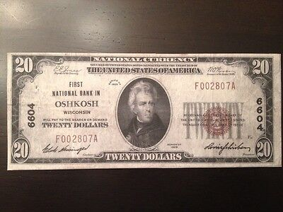 Reproduction $20 National Bank Note 1929,1st National Bank In Oshkosh, Wisconsin