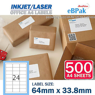 500 x 24 up 64 x33.8mm Peel Paste Label A4 Office Mailing Address label 24UP