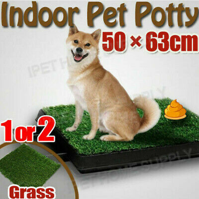 Portable Indoor Pet Potty Training Potty Loo Toilet with Tray 1 / 2 Grass Mat