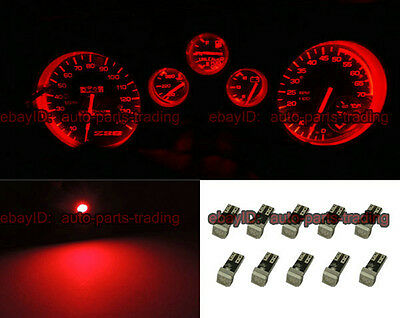 10 x Red T5e 73 74 1SMD LED Light Car Instrument Gauge Dashboard Bulbs 5001 5d