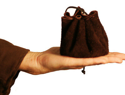 Medieval-LARP-Pagan-Cosplay BROWN ROUND Leather Drawstring Money Dice Pouch-Bag