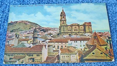 NOT USED 1910 POSTCARD PANORAMIC VIEW OF CATHEDRAL, MALAGA, SPAIN #76