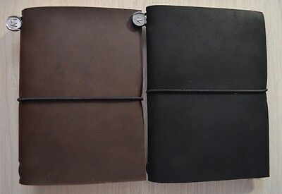 Italian Leather Journal Handmade Blank Notebook Travel Black Brown Passport Size