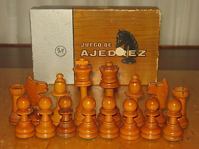 Vintage  Argentine Staunton Chess Set with Original Box probably from the 1950s