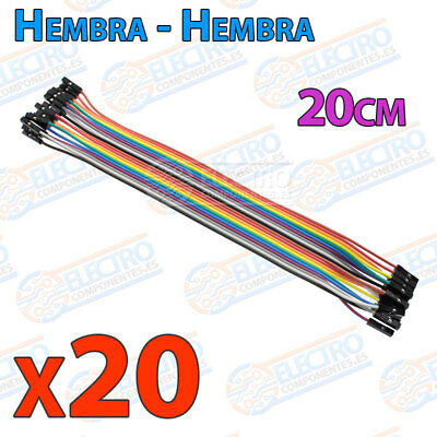 20 Cables 20cm Hembra Hembra jumper dupont 2,54 arduino protoboar cable