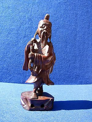 Antique Chinese Well Carved Rosewood Statue Of Man With A Fish On A Rope !!