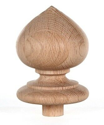 "Staircase Finial Newel Post Cap FN-0100, Red Oak Wood (4"" H X 3 5/16"" W)"