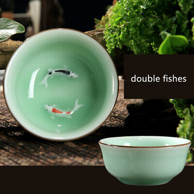 Newly listed Chinese celadon tea set pottery tea cup 80ml fish design fine china