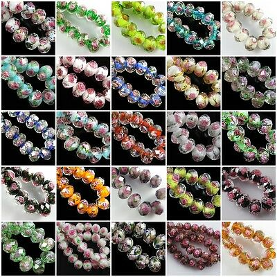 12mm Rondelle Faceted Glass Crystal Rose Flower Inside Lampwork Beads Spacer