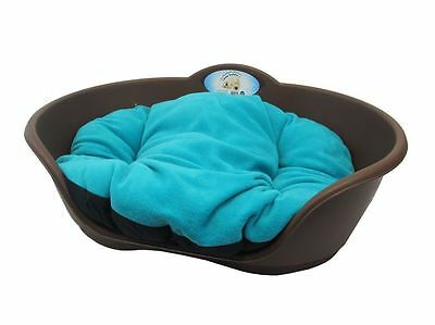 Heavy Duty BROWN Pet Bed With TEAL Green Cushion UK MADE Dog Or Cat Basket • EUR 19,58