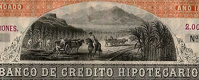 Peru 1877 2,000,000 Soles Stock Owned By Banco Del Peru! Only 1 Known!! Cv $1500
