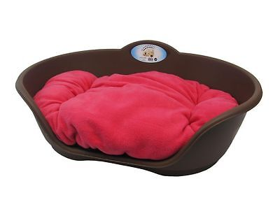 Heavy Duty BROWN Pet Bed With FUSCHIA Pink Cushion UK MADE Dog Or Cat Basket