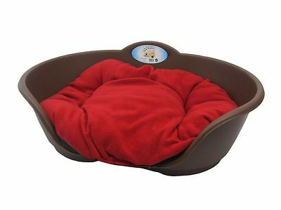 Heavy Duty BROWN Pet Bed With RED Cushion UK MADE Dog Or Cat Basket