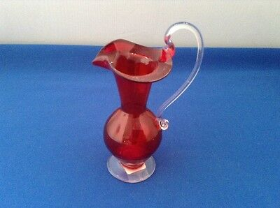 vintage red glass small pitcher
