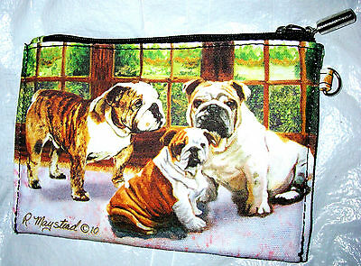 BULLDOGS  Zippered Pouch by Ruth Maystead; full color design both sides