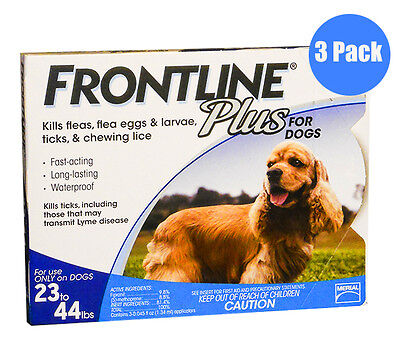 Frontline Plus Blue for Dogs 23-44lbs --3 Month Supply FREE SHIPPING