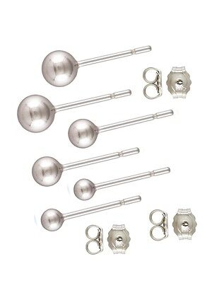 925 Sterling Silver 3mm & 4mm & 5mm Ball Post Stud Earrings 3pairs   #5222-345