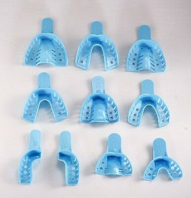 US Seller 12 pcs Disposable Impression Tray #7 Up R/Low L (Blue)