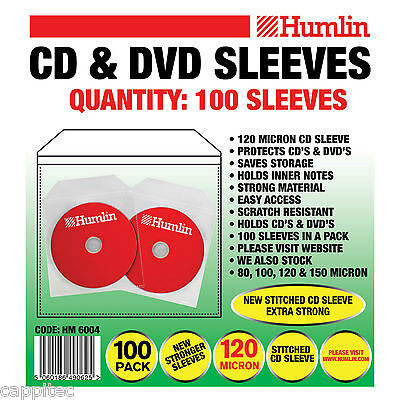 Pack Of 100 Quality Clear Cd / Dvd Sleeves 120 Micron With Stitched Edge Seem