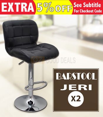 2x Luxury PU Leather Bar Stool Kitchen Chair Chrome Gas Lift Footrest Black 4011