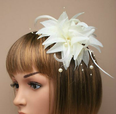 Cream Beaded Feather Flower Beak Clip Fascinator Weddings Races Ladies Day 6