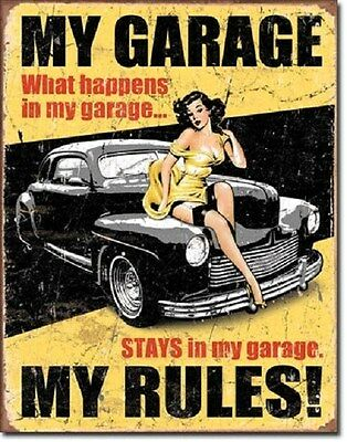 """12 1/2"""" X 16"""" WHAT HAPPENS IN MY GARAGE MY RULES PIN UP GIRL METAL SIGN NEW"""