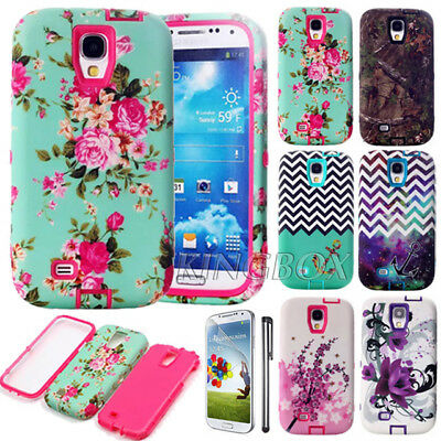 Pattern Prited TPU Combo Dual Layer Shockproof Hard Case For Samsung Galaxy S4